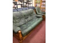 Green leather pod style sofa with armchair