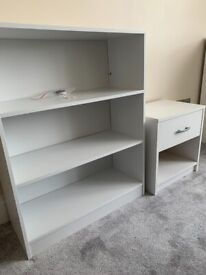 Low Bookcase and Bedside Table - 2 Pieces