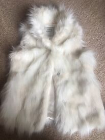 Cream faux fur Next girls gillet age 5/6