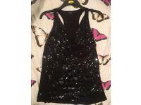 Ladies Guess Top - Black Sequined Top Size 12 - Ladies designer top