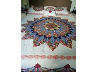Patchwork Quilt with 2 Pillow Cases and Cushion