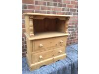Solid chunky pine chest of drawers. Bedside. Bookcase. Side table. L