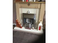 Light oak electric fire and surround