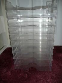 10 clear Acrylic paper/card storage trays