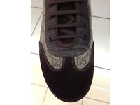 GUCCI Brown leather and suede Trainers, Brand New size 7
