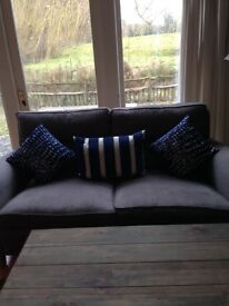 NEW-3 feather filled navy and natural cushion covers.
