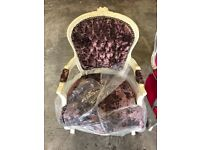 Antique style shabby chic arm chair Wine crush velvet with a cream frame