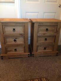 Mexican Three Drawer units/ Bedside cabinets