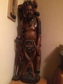 SOLID WOOD AFRICAN FIGURE 4ft TALL