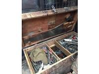 Vintage box of old tools