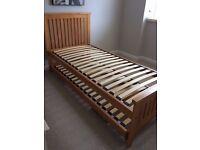 Oak framed single trundle guest bed