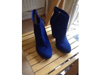 Woman's Dark Blue Suede Boots for sale