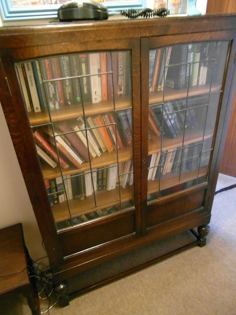 Antique Bookcase Leaded Glass Front Can Deliver In Southampton Hampshire Gumtree