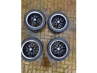 CUSTOM MADE BLACK 4 STUD TSW ALLOYS AND TYRES FOR SALE