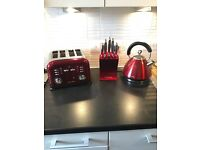 Red Morphy Richards Kitchen Appliance Set