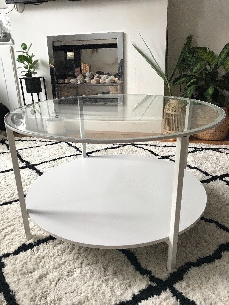 Ikea Vittsjwhite Metal Round Glass Coffee Table Scandiin Manchester Used But In Good