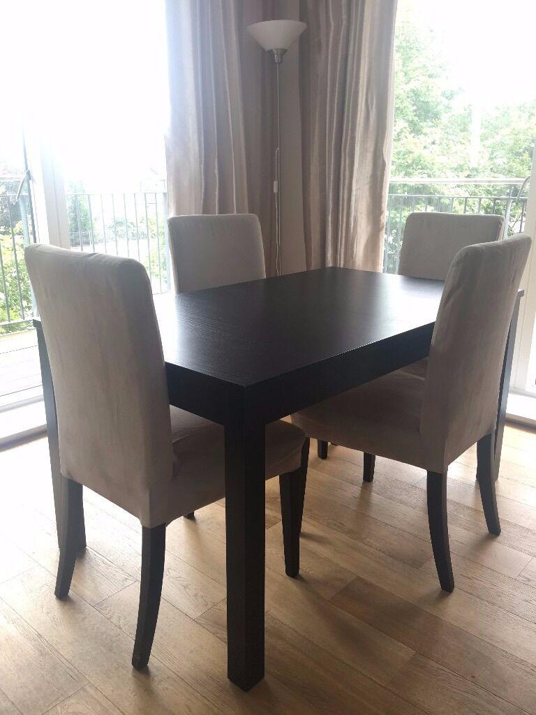 IKEA HenriksdalBjursta dining table dark brownsuede beige in