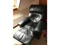 Leather recliner armchair in black