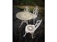 Cast aluminium Victorian cast iron style, garden table and chairs - 3 chairs