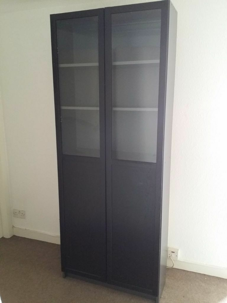 ikea billy oxberg bookcase with panel glass door black brown and dark grey in roseburn. Black Bedroom Furniture Sets. Home Design Ideas