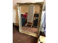 Bevelled wall mirror silver/gold