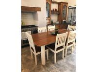 Dining table - Country cream, solid oak.