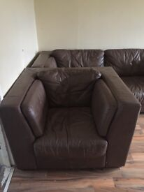 Brown leather sofa and chair used condition