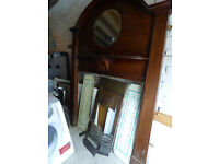 Large vintage victorian / edwardian fire surround with mirror, cast iron insert & tiles