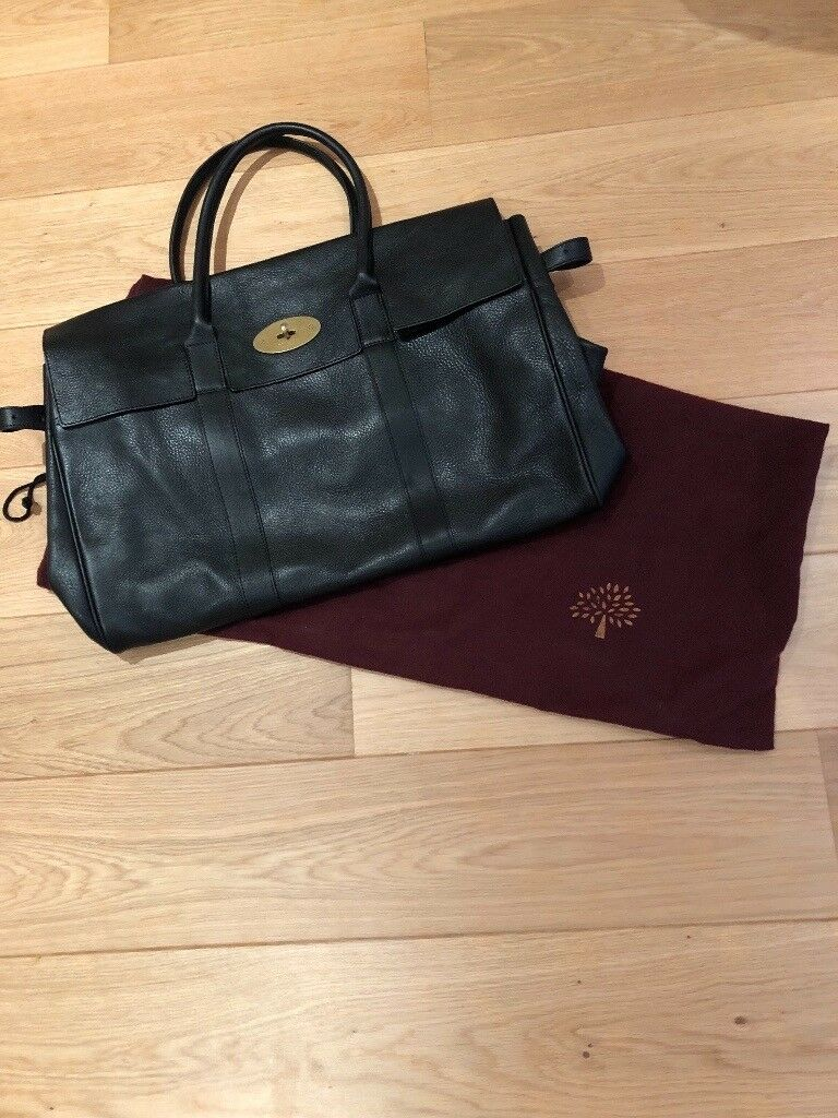 Mulberry Black Leather Holdall / Overnight Bag