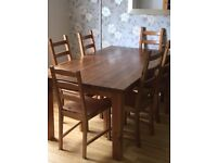 Dining room table and 6 chairs. Used condition.