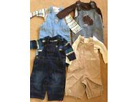 X 4 dungaree outfits baby boy 3-6 months excellent condition