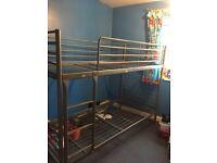 Silver metal bunk bed frame single