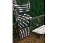 Bathroom fittings ,chrome radiator,p shape glass door, sink with tap,shower unit chrome square ,