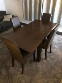 Dining room table (extendable) and 4 leather chairs