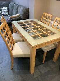 Solid Wood Dining Table Glass Top