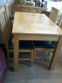 Oak table plus 4 chairs