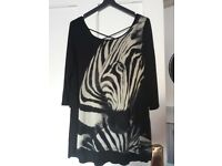 Zebra Print evening top, 1 size, never worn, see picture for details