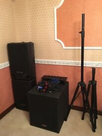 Professional DJ Mixer, Subwoofer and speakers with stands and cables