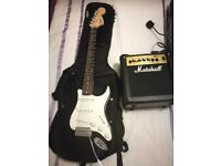 Stratocaster Guitar and Marshall Amplifier