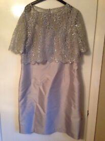 Hobbs light grey wedding guest dress size 16