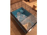 Hamster cage, wheel and various accessories