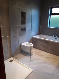 Frameless Showerwall screen suitable for shower tray or wetroom 1 week old