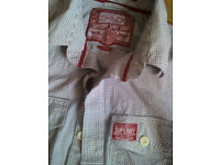 Superdry Mens Shirt Size L Blue and White Check