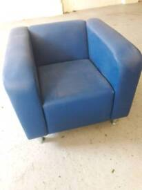 Blue leather tub chairs x 4 £25.00 each