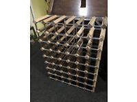 Elegant Wooden and Metal Wine Rack Pine Timber 48 Bottle Holder Storage Stand
