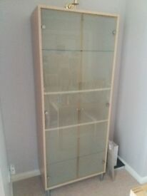 Beech cabinet with glass doors and 4 shelves, excellent condition