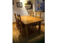 REDUCED John Lewis Oak Pendleton table and 4 chairs With table extension H76 X W95 X L180-230cm