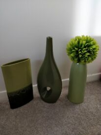 Selection of green vases