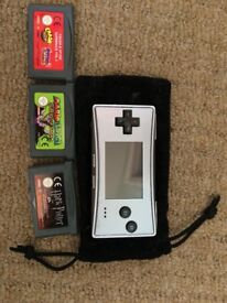 Nintendo GameBoy Micro Silver + 3 games, original charger and pouch