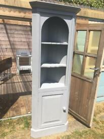 Solid pine painted grey corner cupboard